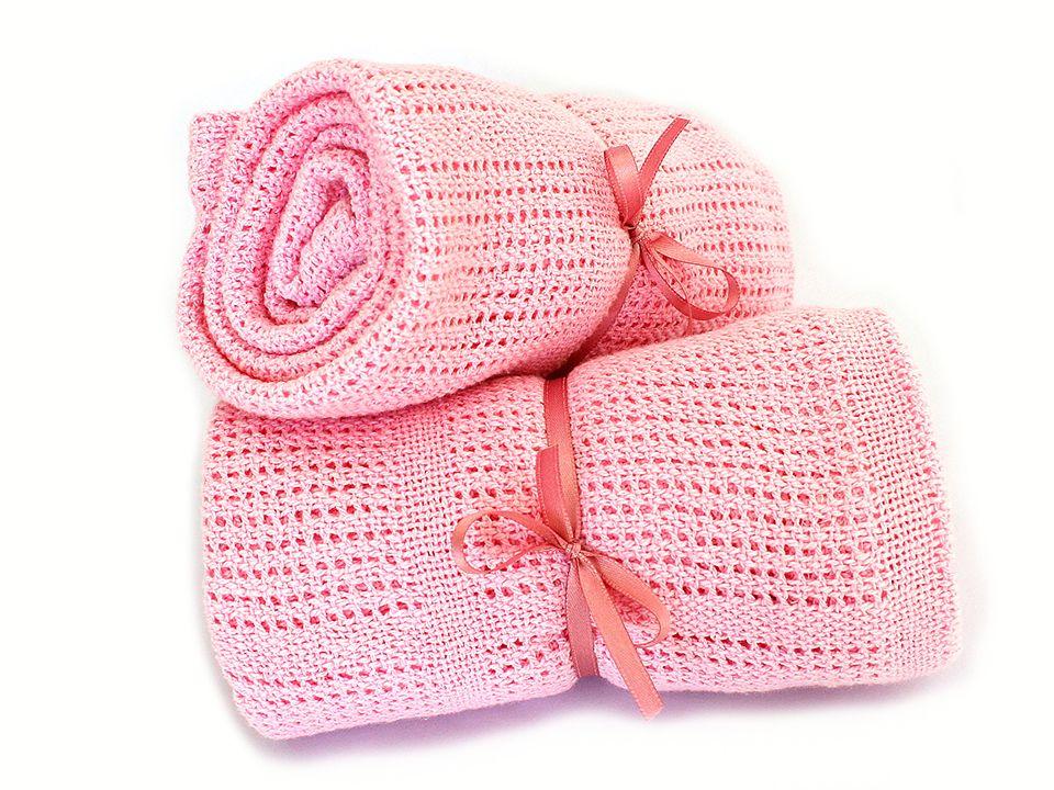 Růžový bavlněný pléd