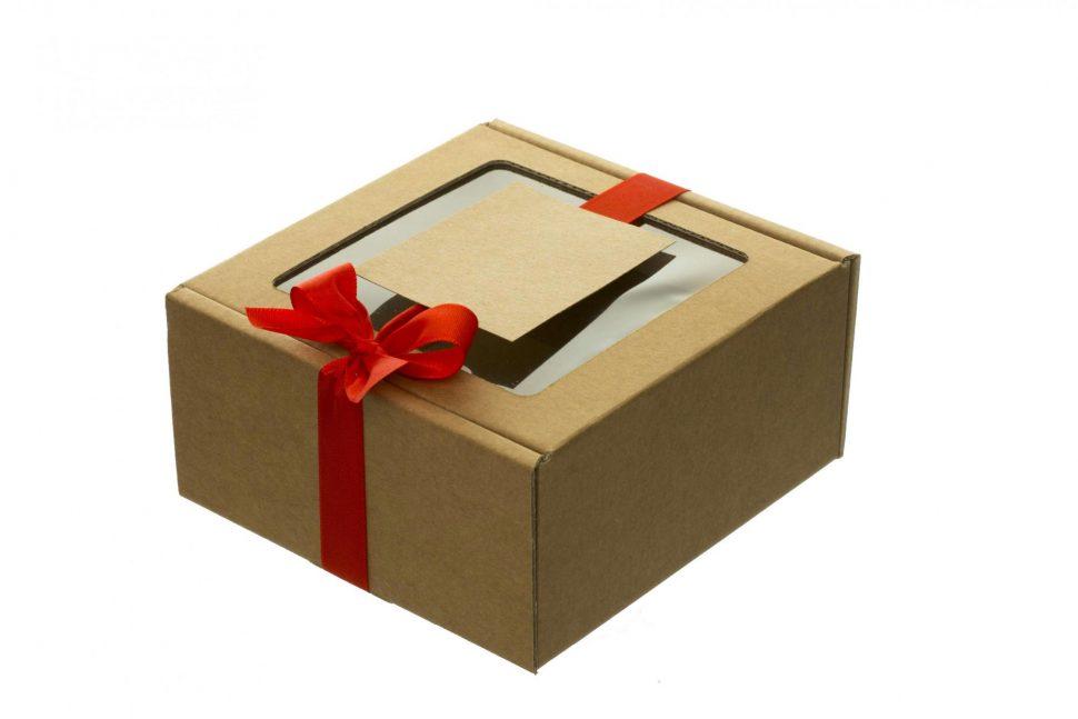 Dárková krabice s průhledným víkem