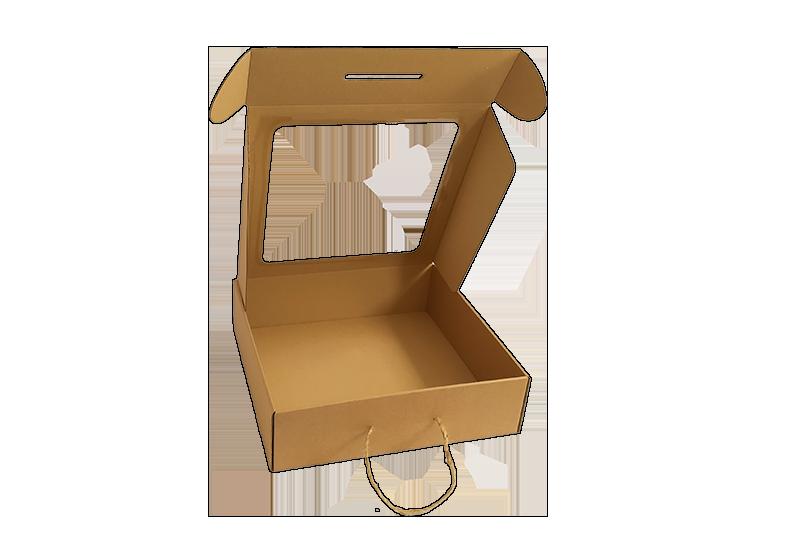 Dárková krabice hnědá s průhledným víkem
